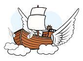 Flying Ship - Vector Cartoon