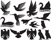 set of birds silhouettes