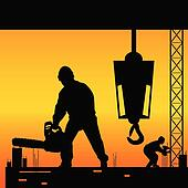 workers on a construction site vector illustration