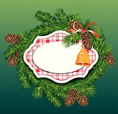 Christmas and New Year background - fir tree branches, pine cone