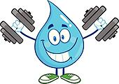 Smiling Water Drop With Dumbbells