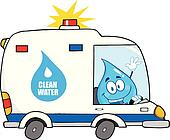 Water Drop Driving Clean Water Van