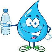 Water Drop Holding A Water Bottle