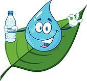 Water Drop Showing Water Bottle