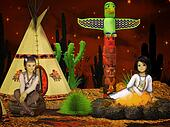 native american children, teepee at night