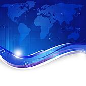 Business World Map Blue Background