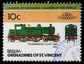 BEQUIA - CIRCA 1985: A stamp printed in Grenadines of St. Vincent shows Thundersley Train 4-4-2T, 1909 U.K., circa 1985