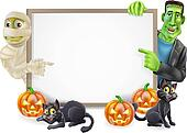 Halloween Sign with Mummy and Frankenstein