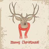 Deer head vintage Christmas card