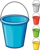 vector colored bucket with handle