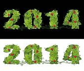 New year 2014. Date lined green leaves with drops of dew and red berry. Isolated on black and white background