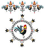 Folk Decorations Of Roosters