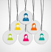 Colorful hanging team members badges
