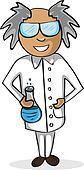 Profession scientist man cartoon figure.
