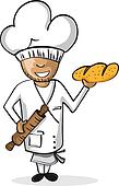 Profession baker worker cartoon figure.