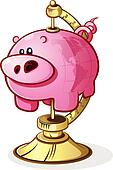 Piggy Bank Globe Cartoon Character