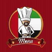 Food from Arab emirates menu poster.