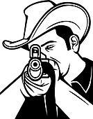 cowboy shooting a rifle