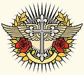 christian cross, wings and roses