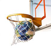 Planet earth falling into the basketball basket by a perfect sho