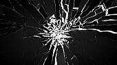 Demolishing: pieces of cubic shattered glass isolated