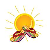 sun with flip flop art vector illustration