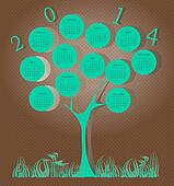 Tree calendar for 2014 year