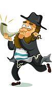 Jewish man with shofar
