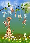 giraffe and monkey for twins