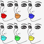 Rainbow Womans Lips Pop Art