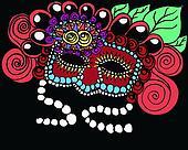Gothic mardi gra mask illustration