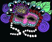 Goth mardi gra mask illustration