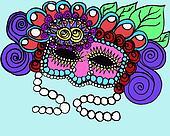 Spring mardi gra mask illustration