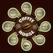 coffee house with labels