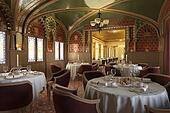 Old antique restaurant interior, with decorations.