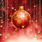 Christmass red abstract background with several decorations hang