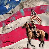 Patriotic  Cowgirl Background