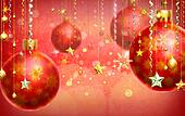 Christmas red abstract background with several decorations hang