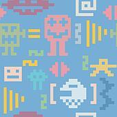 Pixel monsters seamless pattern