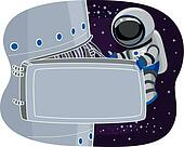 Astronaut on Space Station Maintenance