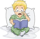 Caucasian Boy Crying Over a Story Book