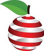 Vector apple from ribbon