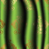 green curtain with gold pattern