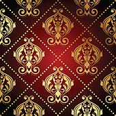 red and gold ornate wallpaper