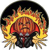 Halloween Pumpkin Head Jack Emblem