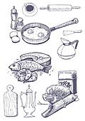 Vintage set of food and kitchen ute
