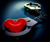 Love heart in handcuffs