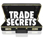 The words Trade Secrets in an opening black leather briefcase to illustrate proprietary information or intellectual property