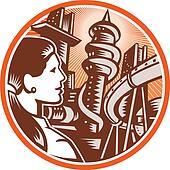 Futurist City Woman Side Circle Woodcut