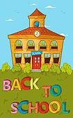 Back to school concept colorful School house.
